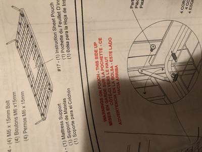 Metal baby crib mattress support frame from owner's crib assembly instructions manual
