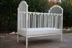 White Metal Baby Crib