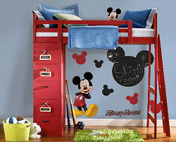 Large baby Mickey Mouse wall decals and chalkboard wall stickers in a baby boy's room