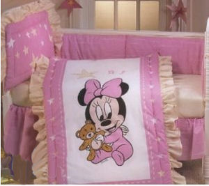 Baby girl Disney Mickey and Minnie Mouse Nursery Crib Bedding Set