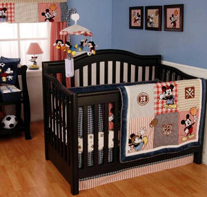 Baby boy Mickey Mouse Allstar Sports Baseball, Basketball, Soccer and Football Theme Nursery Crib Bedding Set