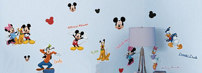 Mickey Mouse, Minnie Mouse, Donald Duck, Daisy Duck and Goofy Wall Decals and Stickers Set for a Baby Boy or Girl Nursery Room