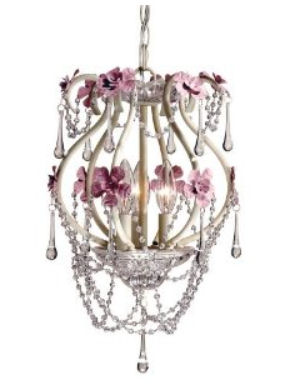 Shabby chic mini chandelier pendant light with teardrop shape crystal beads and flowered floral accents for a baby nursery room