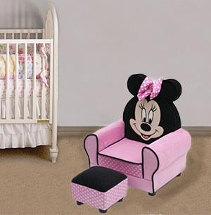 Pink and black Minnie Mouse child kids chair for the baby nursery
