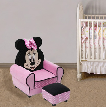 Pink and black Minnie Mouse kids chair for the baby's nursery room with polka dots.