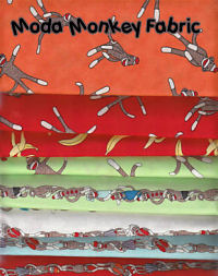 Sock monkey fabric for baby bedding nursery curtains and for Baby monkey fabric prints