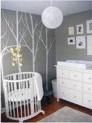 modern gray and white tree baby nursery wall mural