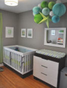 modern gray blue lime green baby nursery paint wall color
