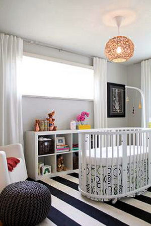 Modern musical theme baby girl nursery with DIY musical instruments crib mobile