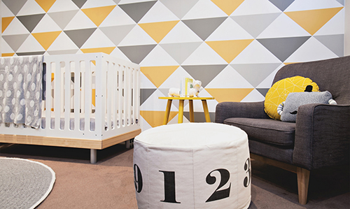 Modern gender neutral baby nursery design ideas numbers in white grey and yellow