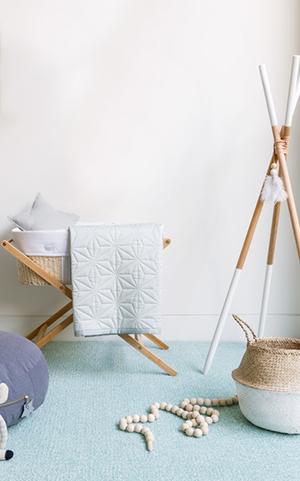 Modern southwest baby nursery decor teepee baskets and wooden bead rattlesnake desert decorations