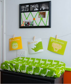 Our Baby's Changing Table w Lime Green and White Giraffe Print Fabric