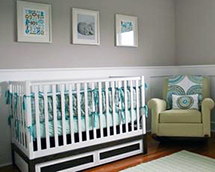 Modern grey teal green blue white baby nursery ideas