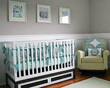 Modern grey teal green blue white baby nursery ideas