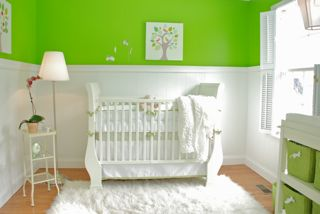 Our Baby's Nursery with Lime Green and White Walls and Decor
