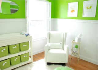 Lime Green and White Nursery Storage and Rocker Glider