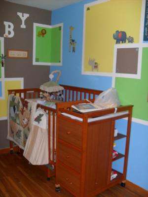 Changing Table Framed by Modern Square Nursery Paint Technique