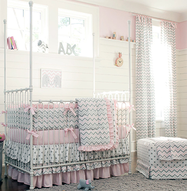 Modern pink baby girl crib bedding set in chevron and polka dots fabric with crib skirt and ruffles in pink grey and white