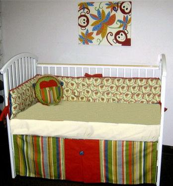 Safari jungle baby bedding with DIY monkey nursery wall art painting