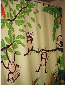 funky monkey monkeying around bathroom shower curtain jungle theme