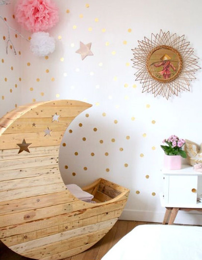 Homemade crescent moon baby cradle. Star cut outs reclaimed pallet wood.  Woodworking pattern.