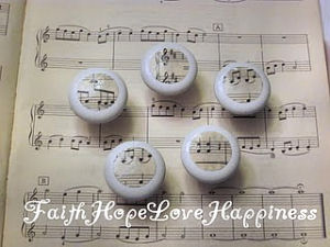 music note musical note shabby chic vintage baby nursery dresser drawer pulls knobs