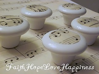 Shabby Chic Vintage Musical Baby Nursery Dresser Drawer Pulls
