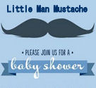 Little man mustache baby shower invitations announcements