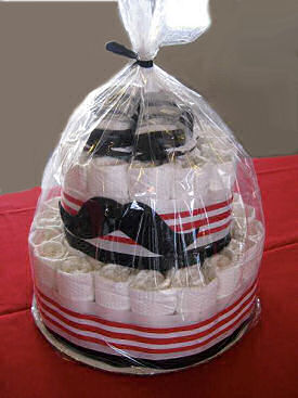 Little man mustache baby diaper cake for a baby boy shower gift and table decoration