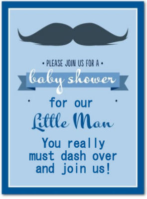 Custom little man mustache baby shower invitation template with personalized wording