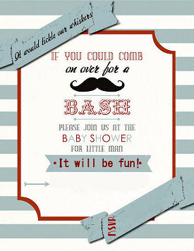 Red white and blue baby boy little man mustache baby shower invitation card