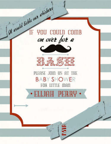 Custom moustache baby boy shower invitation