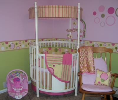 Yellow, Pink and Lime Green Baby Girl Nursery with Round Crib Bedding