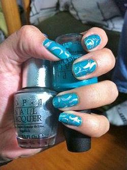 Metallic teal blue baby boy nail polish shower favors ideas