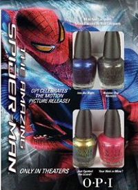 Spiderman theme baby boy shower nail polish favors ideas