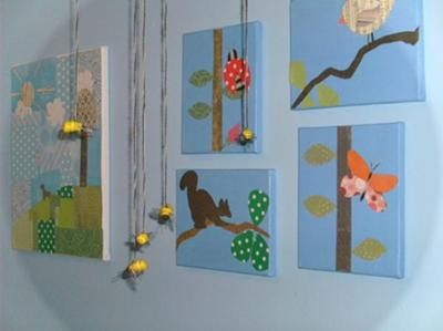 Nature Baby Nursery Theme Decorations Bees Birds  Butterflies and Bees