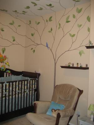 The Nursery Tree Mural with Song Birds - A Lovely Blue and Green Natural Nursery Wall Painting Technique