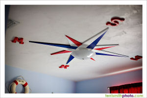 nautical star ceiling decoration nursery baby boy red white blue compass