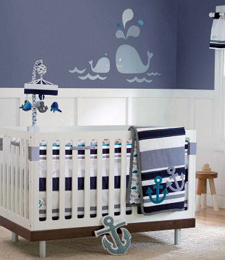Blue baby boy nautical sailboat nursery theme decorating ideas  bedding and wall decor