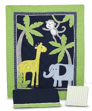 Lime green and navy blue jungle safari baby nursery crib bedding set with monkeys and giraffes quilt applique
