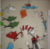 dr seuss cat in the hat one fish two fish red blue baby nursery wall mural decor theme picture