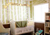 green brown and cream baby nursery with musical tree wall mural paint