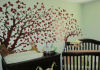 pale green nursery wall red tree mural forest nursery theme decor