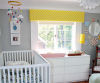 bright yellow white and gray coloful modern neutral baby nursery decor pictures