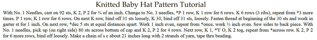 Free vintage knit baby hat cap pattern tutorial with knitted ties and beading gathers