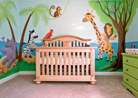 Noahs Ark Baby Nursery Wall Mural Painting with Painting Jungle Animals an Ark and Rainbows