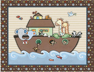 Noah s ark baby nursery wall art print