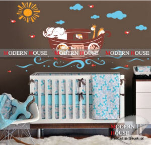 Modern Noah s Ark wall decals with elephants sunburst and clouds