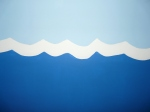 Ocean waves painted on the walls of a twin Noah s Ark nursery