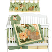 Gender neutral jungle theme baby crib bedding set for a themed nursery room